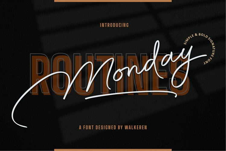 Monday Routines - Signature Font example image 1
