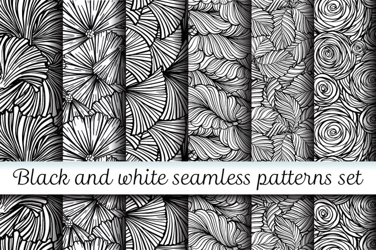 Black and white floral seamless patterns