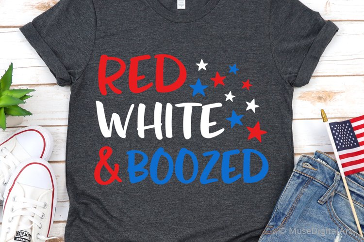 Red White and Boozed Svg, Funny 4th of July Svg, Patriotic example image 1