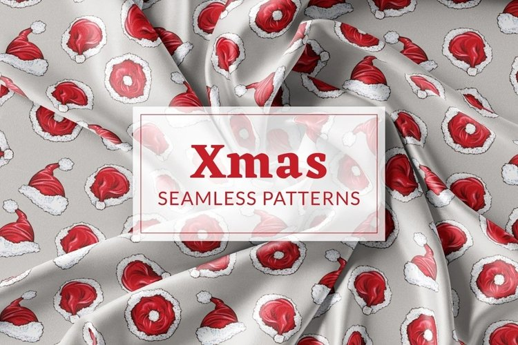 Xmas Vector Seamless Patterns example image 1