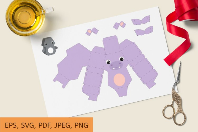 Cute Gift Package Hippo Template SVG, Gift Box SVG example image 1