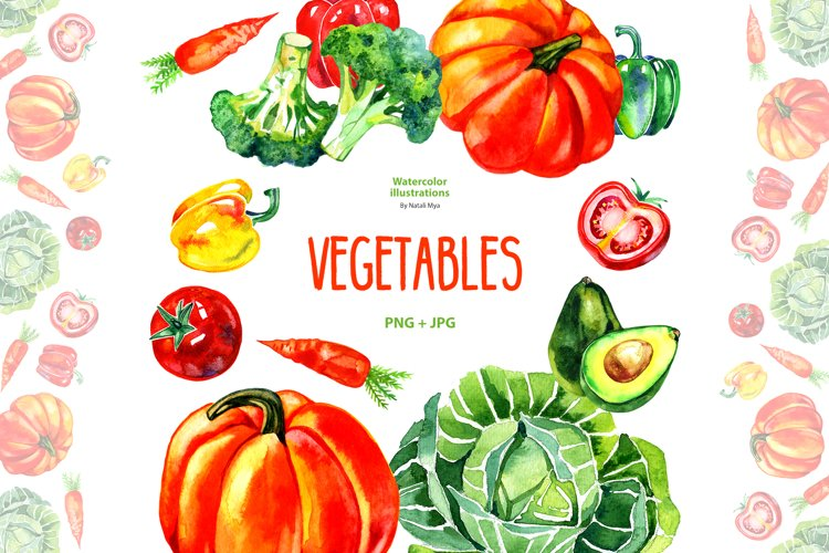 Watercolor vegetables example image 1