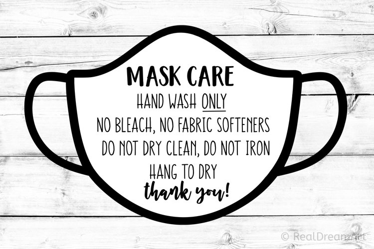 Mask Care Instructions Card SVG, DXF, PNG, EPS example