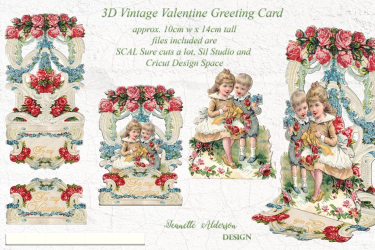 Pop out 3D Vintage Valentine print cut and foil sketch greet example image 1