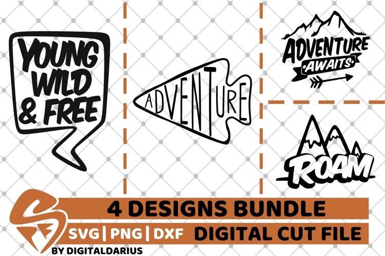 4x Adventure Quote Designs Bundle svg, Camping svg, Roam svg example image 1