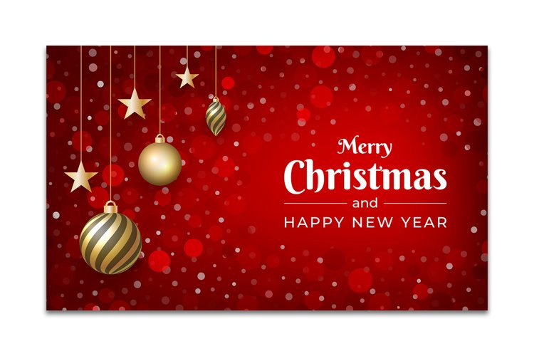 red Christmas background design with glitter ornament