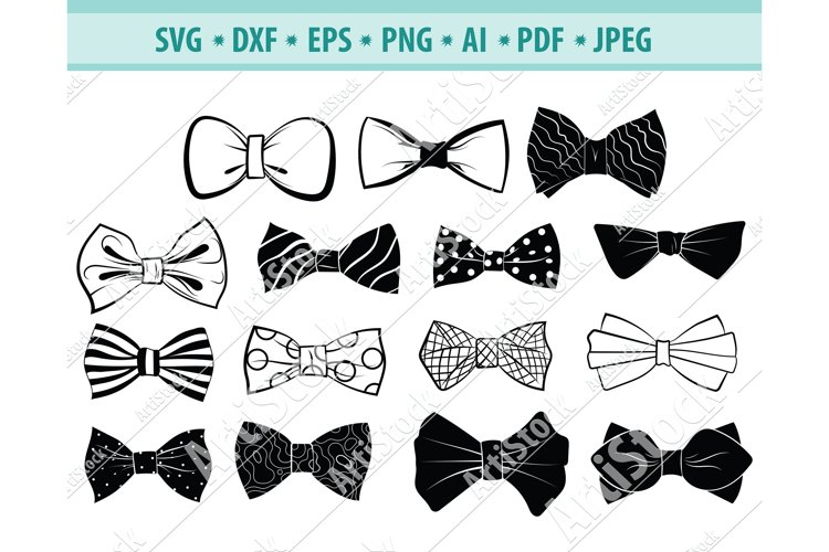 Bow Tie SVG, Bow Tie Clipart, Accessory Svg, Dxf, Png, Eps example image 1