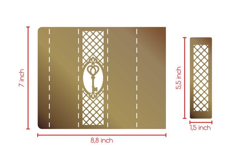 Laser paper cut scroll wedding invitation box SVG template example 2