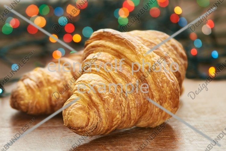 Candies. New Year. Tea. Croissants. Sweets