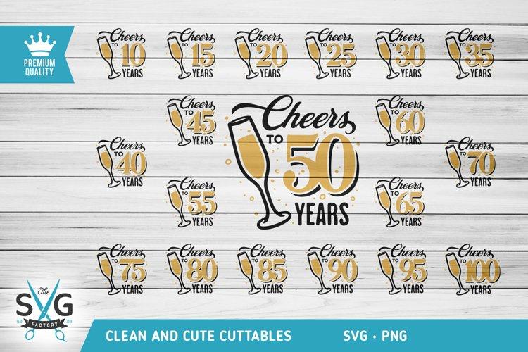 Cheers To Anniversary SVG, Cheers to years SVG, Birthday SVG