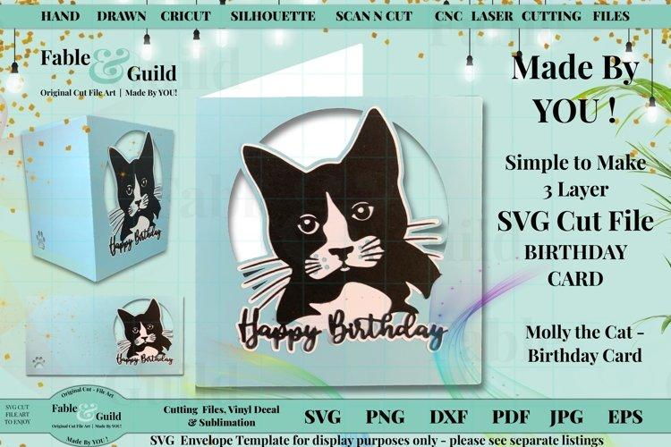 Cat SVG Birthday Card 3D layered Kitten Cut File for Cricut