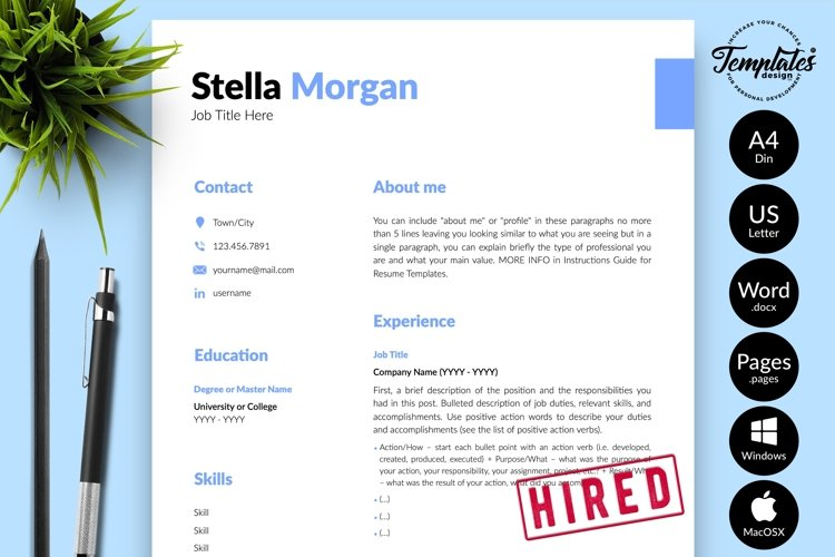 Simple Resume CV Template for Word & Pages Stella Morgan example image 1