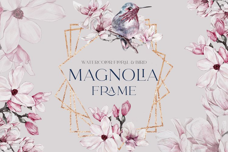 Watercolor Floral Rose Gold Frame Birds Geometric Frame PNG example image 1