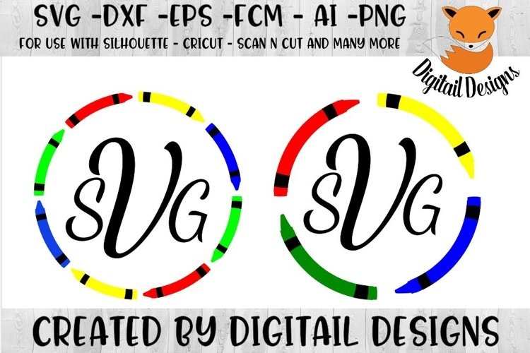 Crayon Monogram SVG for Silhouette, Cricut, Scan N Cut example image 1