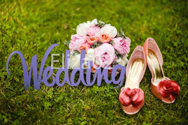 wooden letters wedding, shoes, bouquet example image 1