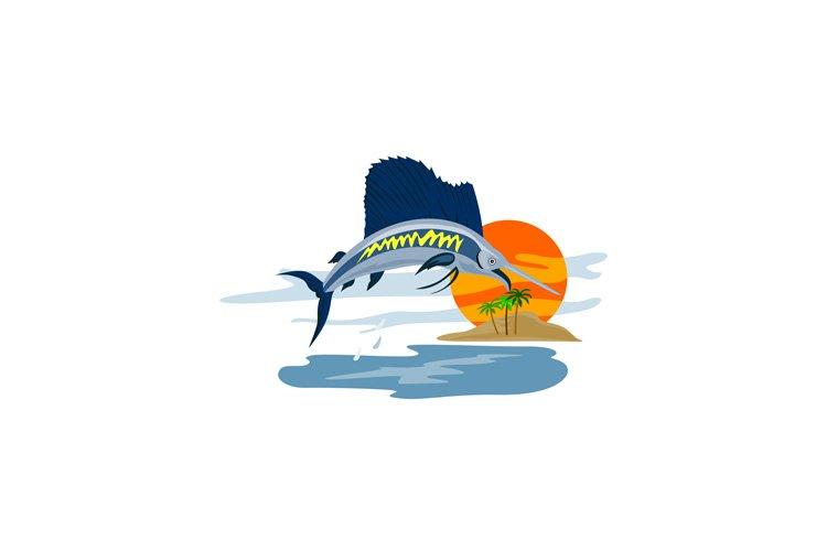 Sailfish Fish Jumping Island Background Retro example image 1