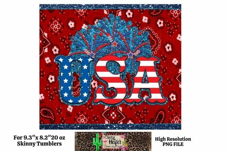 20oz Skinny Tumbler Patriotic USA July 4th Dye Sublimation S example image 1