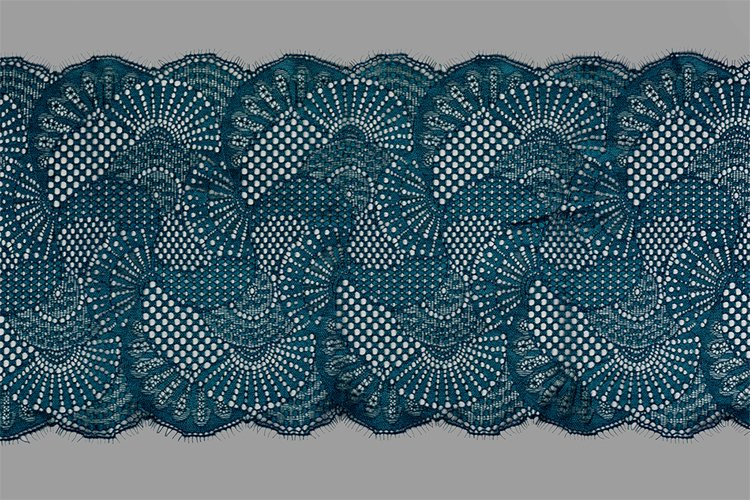 Emerald straight strip of lace fabric. Texture for web example image 1