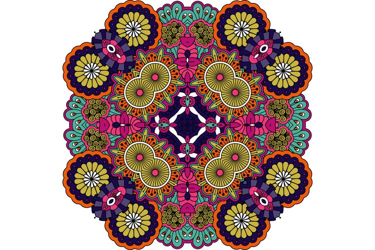 Colorful geometric designs on white background example image 1