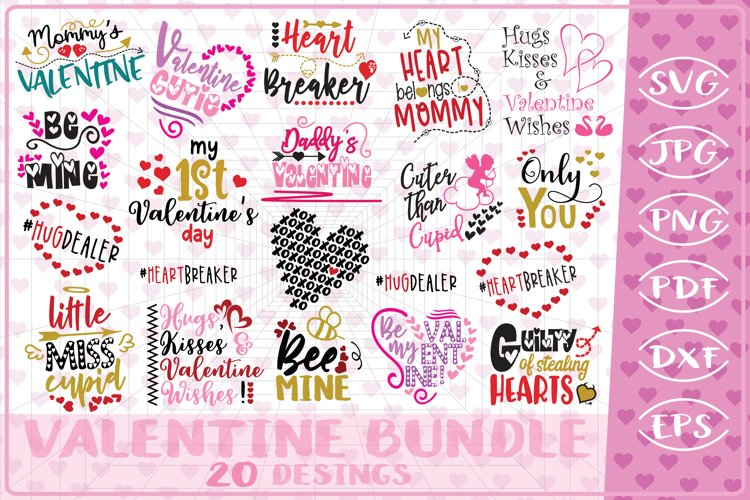 Valentine Bundle 20 Love Quotes Cutting File-Valentine's Day example image 1