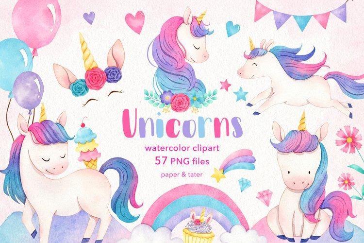 Watercolor Unicorns Clipart Graphics