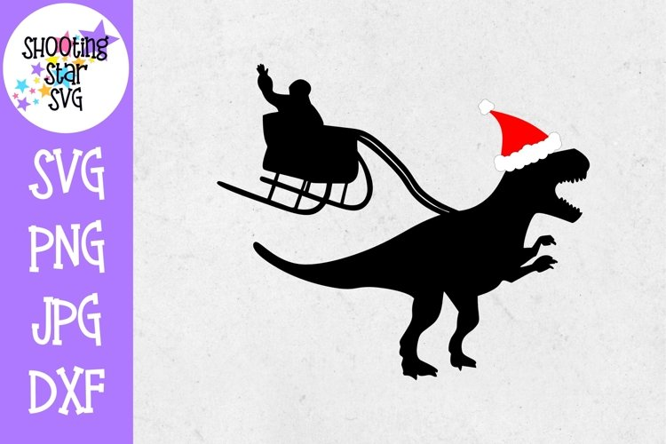 Santa Sleigh and Dinosaur SVG - Christmas SVG