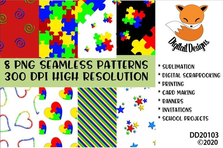 Bright Colored Autism Awareness Digital Paper Pack