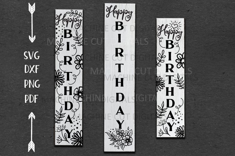 Happy Birthday Vertical Long sign sxg dxf Cricut cut file example image 1