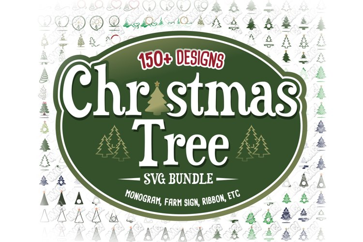 Christmas Tree SVG Monogram in SVG, DXF, PNG, EPS, JPEG example image 1