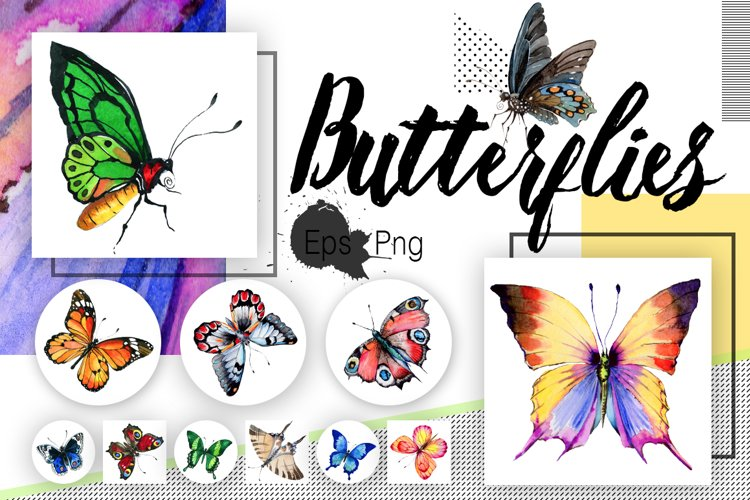 Watercolor butterflies, eps and png