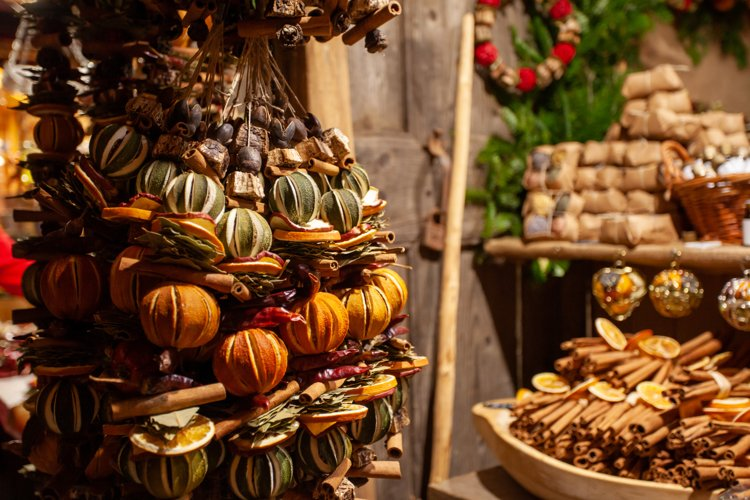 Festive dried fruit hangings at christmas market example image 1