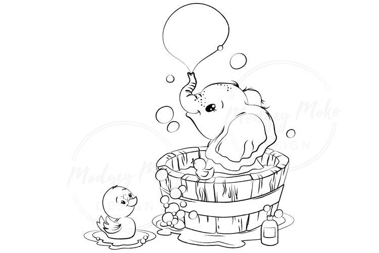 Baby Elephant in bath tub with Duckling DIGITAL STAMP JPEG