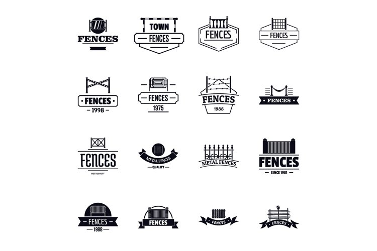 Fencing logo icons set, simple style example image 1