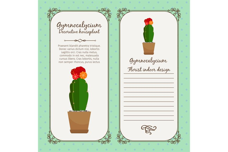 Vintage label with gymnocalycium plant example image 1
