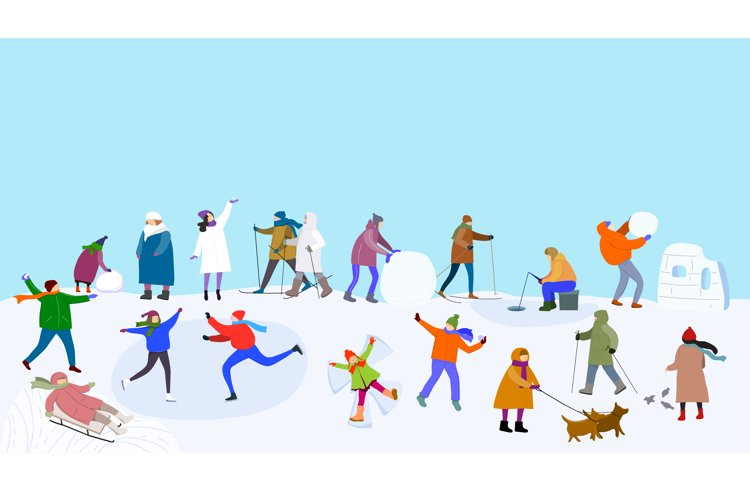 People in the outdoor doing different winter activities. example image 1