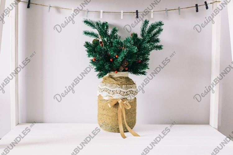 New Year tree in a handmade vase example image 1