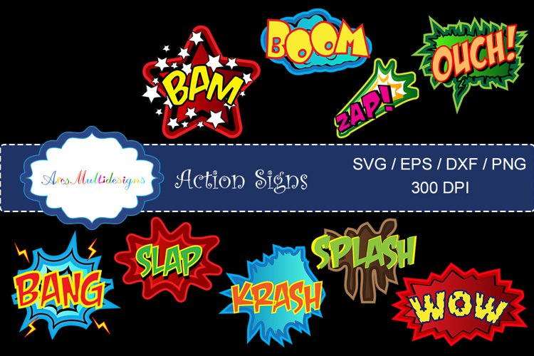 action signs svg vector clipart / action sign silhouette