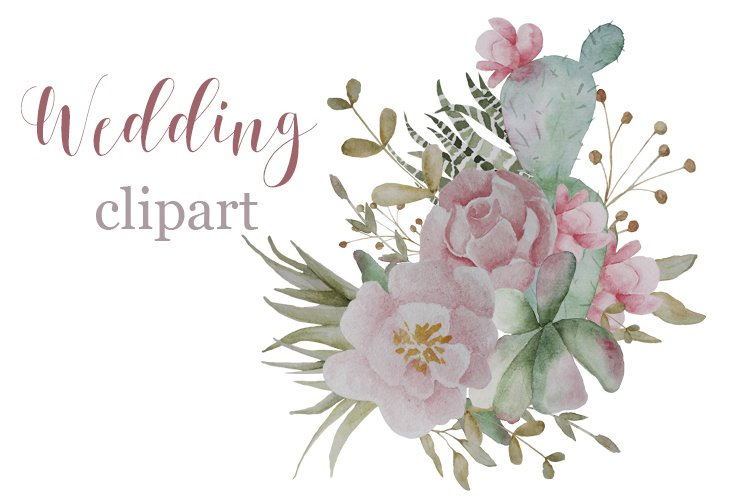 Wedding clipart Watercolor roses cactus leaves sprigs example image 1