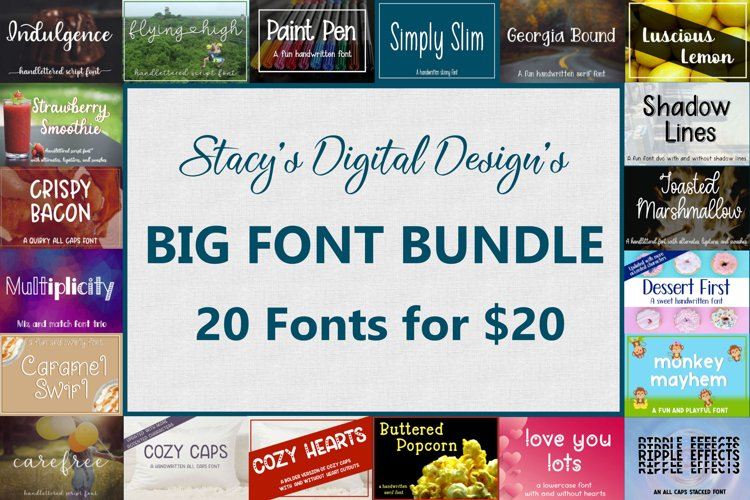 Big Font Bundle - 20 Handwritten Fonts example image 1
