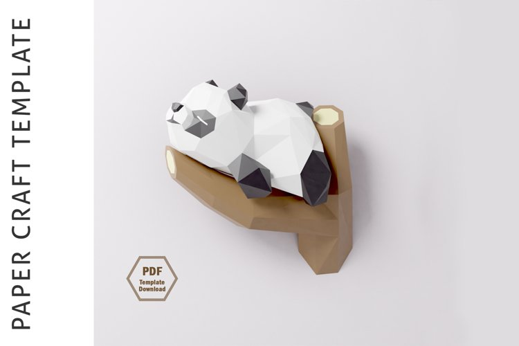 PDF Template of Panda on Tree/ Papercraft Template/ 3D Paper example image 1
