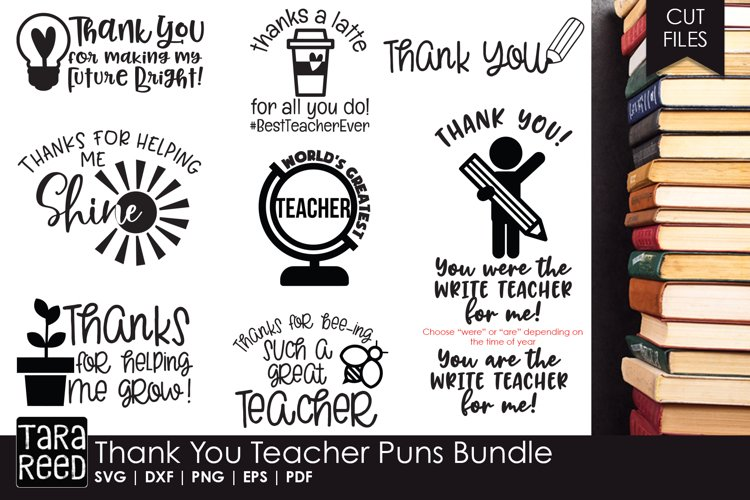 Thank You Teacher Puns - Teacher SVG files for Crafters example image 1