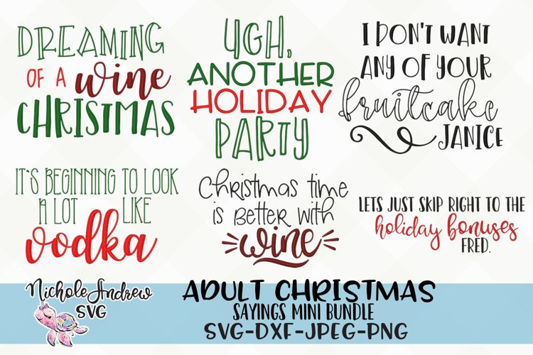 The Original Adult Christmas saying SVG bundle for crafters example image 1