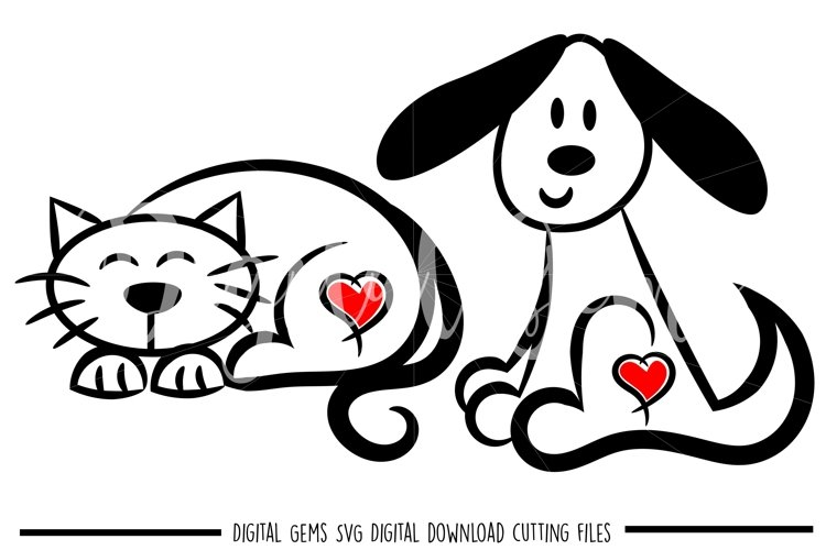 Cat and Dog SVG / PNG / EPS / DXF Files example image 1