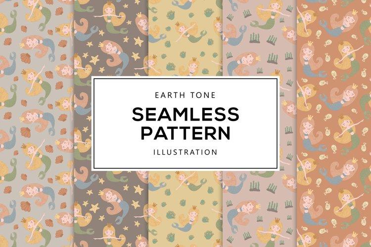 Earth Tone Illustration of Mermaid Seamless Pattern