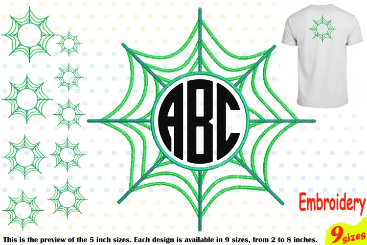 Spider Web Circle Embroidery Design Machine Instant Download Commercial Use digital Outline Frame Halloween Spiderweb 208b example image 1