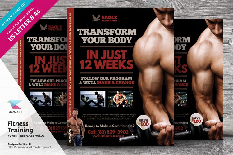 Fitness Training Flyer Template vol.02 example image 1