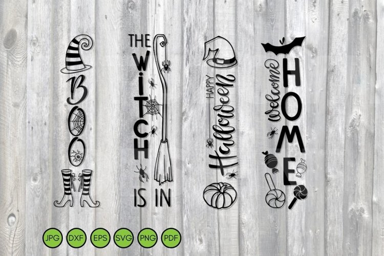 Halloween svg vertical signs png dxf eps Porch Sign bundle 2 example image 1