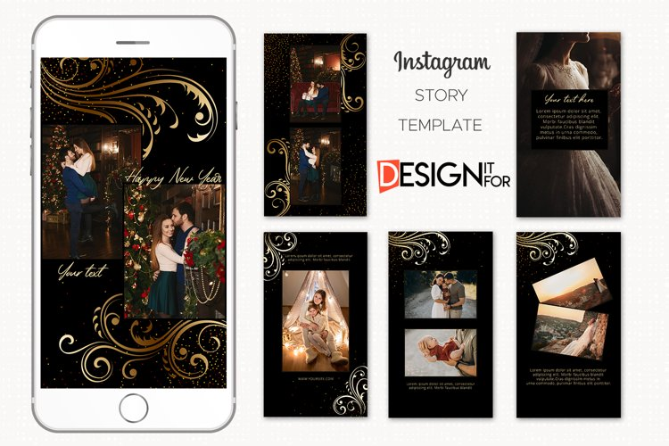 Black Gold Floral Instagram Story Template example image 1