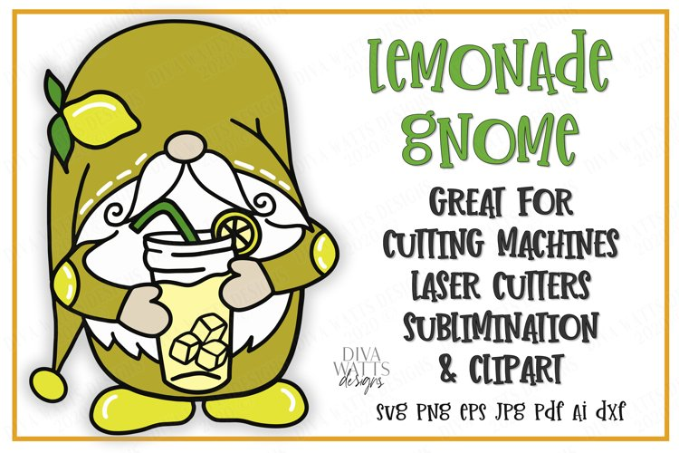 Lemonade Gnome - Summer - Cutting File - SVG DXF EPS