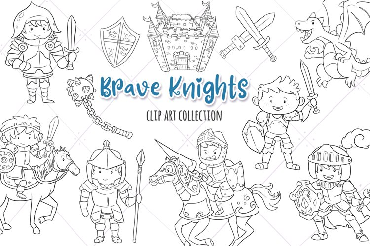 Brave Knights Fantasy Digital Stamps example image 1
